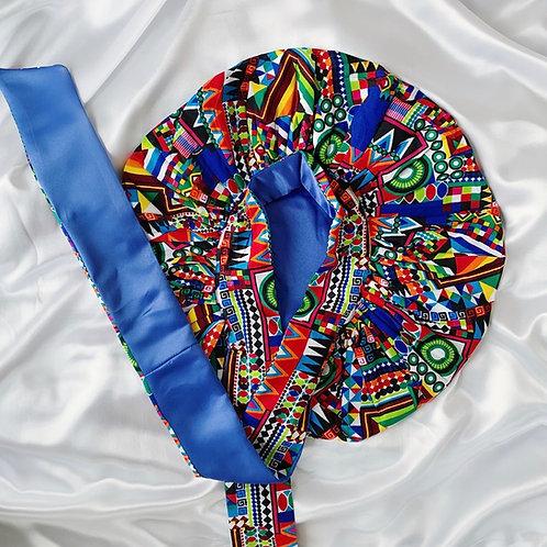 Tropical Blue Satin Tie Bonnet
