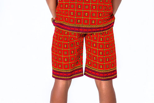 AfroTrend men's Ankara red shorts