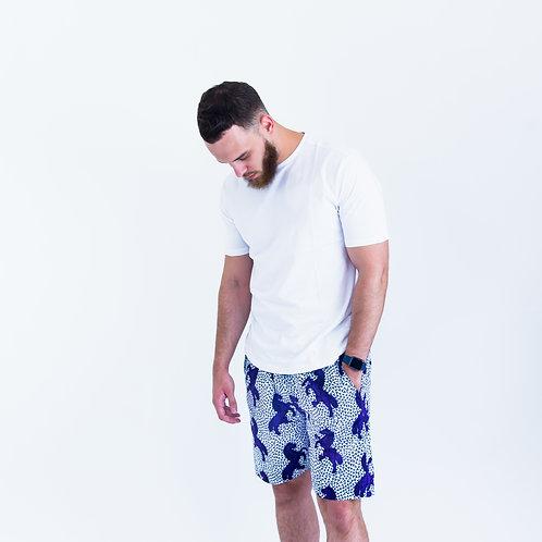 AfroTrend men's Ankara purple horse pattern shorts