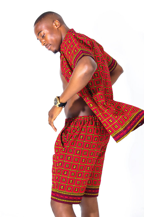 AfroTrend men's Ankara red shirt