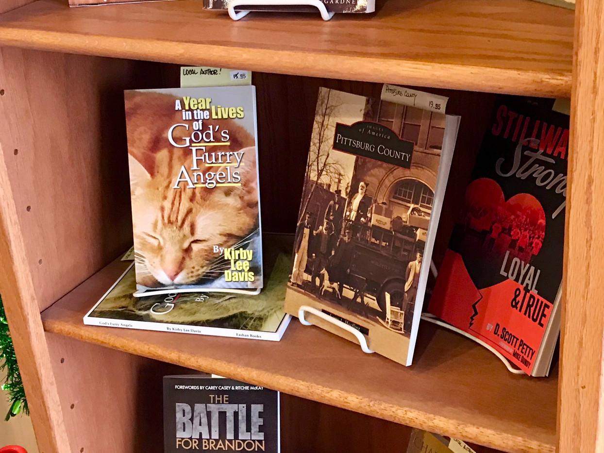 Books on display at McHuston's Books and Bistro
