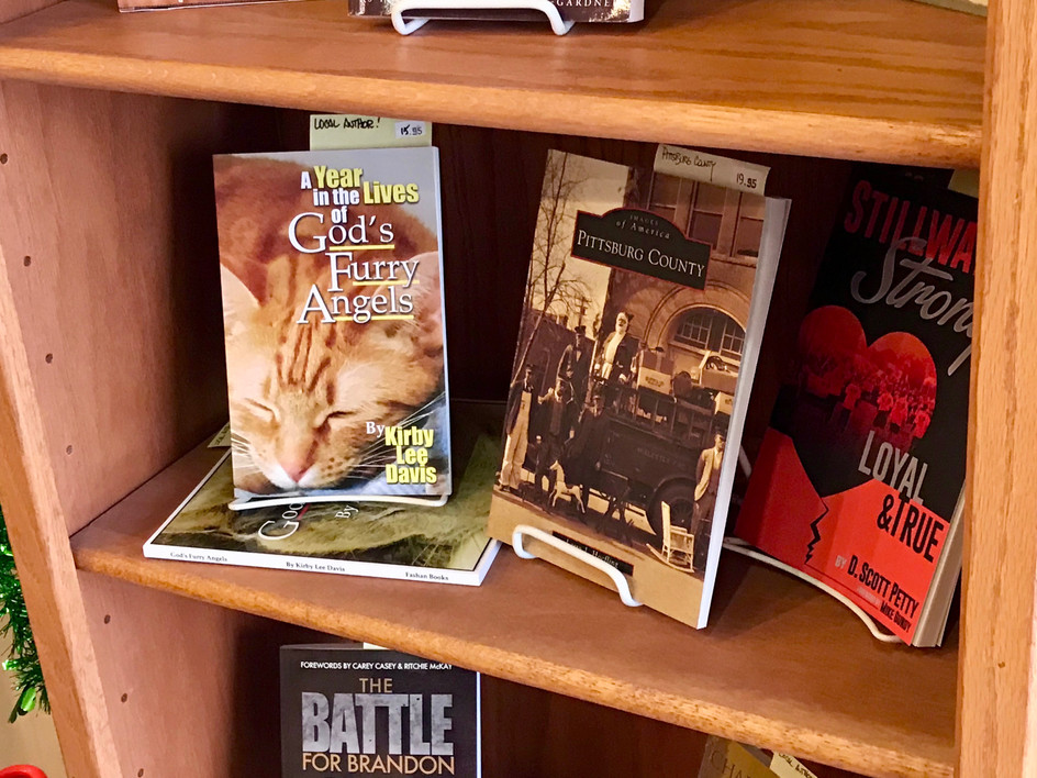 Books on display at McHuston's Books and Bistro