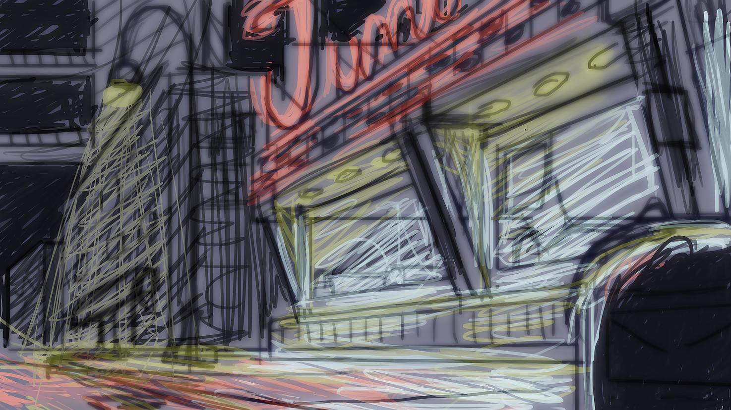 Digital sketch with rough lighting