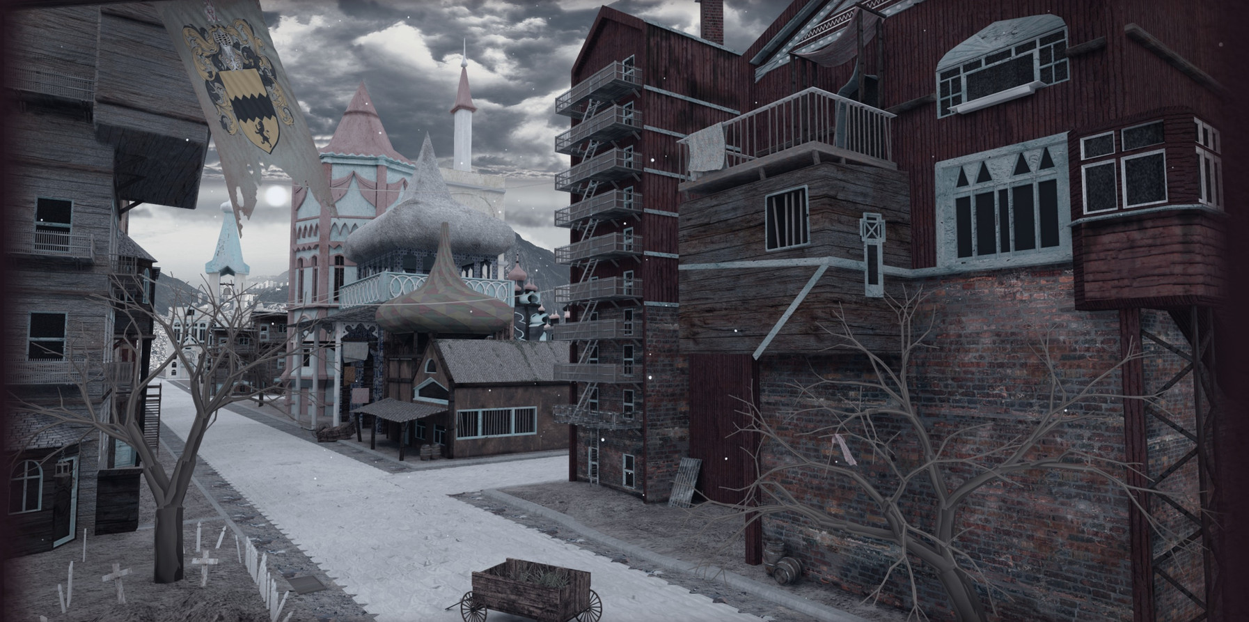 This environment was based off of 1930's American slums and 18th century Siberian architecture. It was a bit of a challenge to combine the two - but I found a common ground in texture, material, and amount of dilapidation.