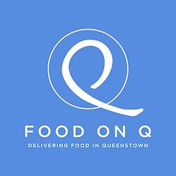 Food On Q Logo Queenstown New Zealand. Tagline is Delivering Food In Queenstown