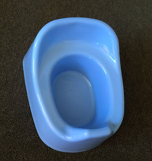 Blue plastic potty for toilet training