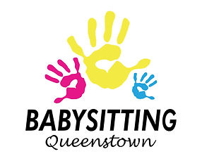 Babysitting Queenstown logo New Zealand with 3 hands in colours pink, yellow and blue