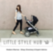 Mother pushing baby in stroller to baby shop New Zealand Little Style Hub