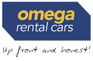 Logo for Omega Rentals Cars in Queenstown New Zealand. Tagline is Up Front and Honest and colours are blue and yellow