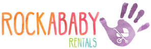Rockababy Rentals baby equipment hire Queenstown New Zealand colourful logo