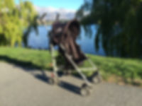 Babylo umbrella buggy stroller by Lake Wakatipu Queenstown New Zealand and the Remarkables