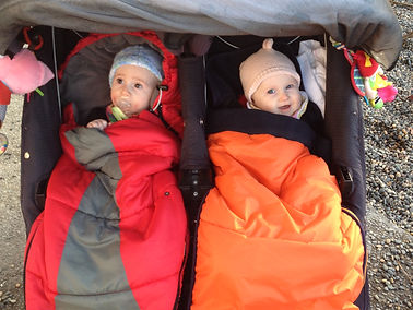 Twin babies in a stroller in their warm buggy sleeping bags or foot muffs