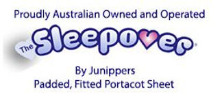 Junippers The Sleepover logo padded fitted portacot sheet