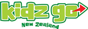 Kidz Go Queenstown New Zealand logo in colours green and red
