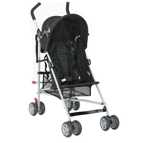 Babylo stroller in black which folds up like an umbrella for easy storage