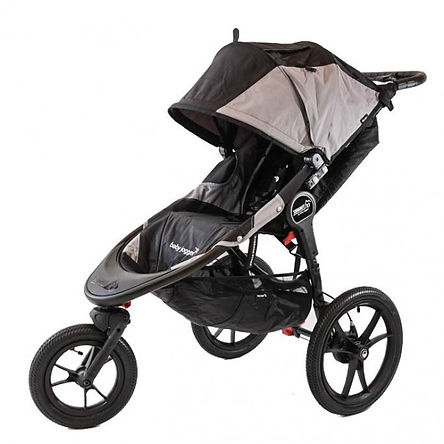 baby jogger summit x3 stroller with 3 wheels and all terrain tyres in black and brown