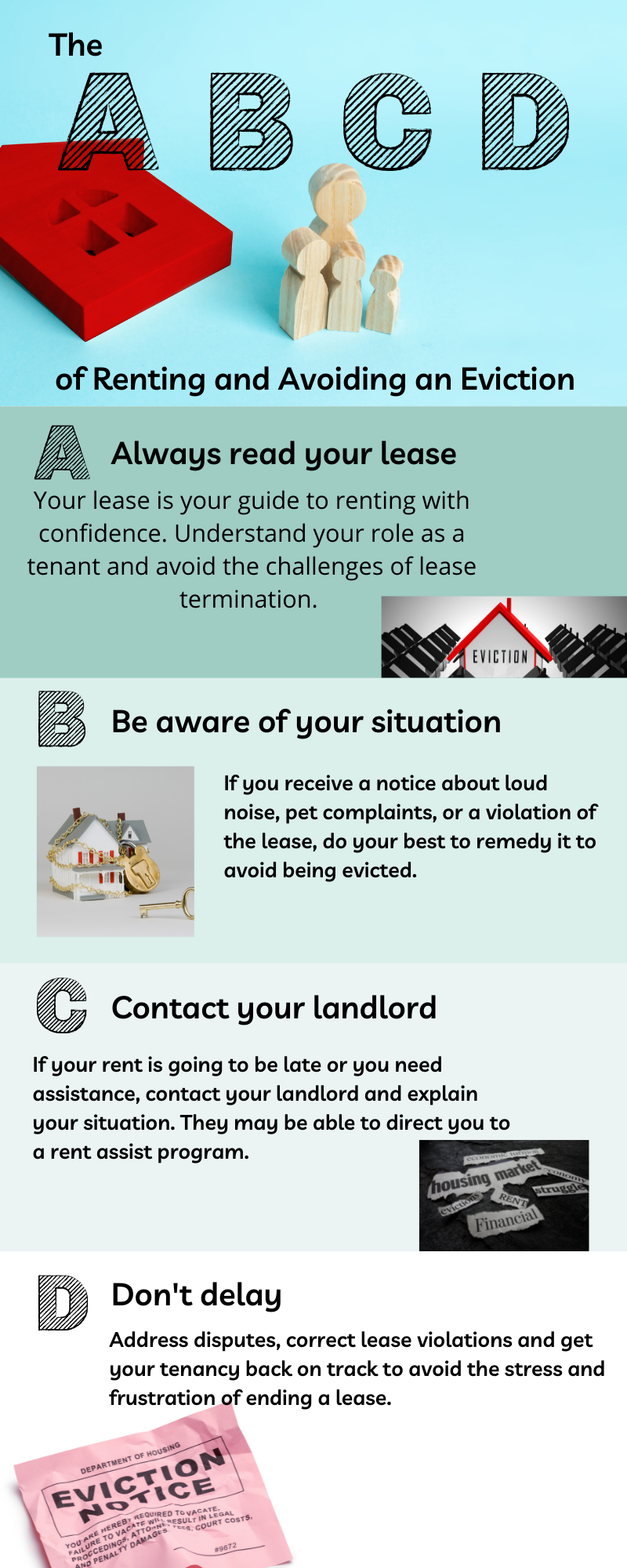 An infographic in the format of ABCD giving four ways to understand renting and avoid eviction.