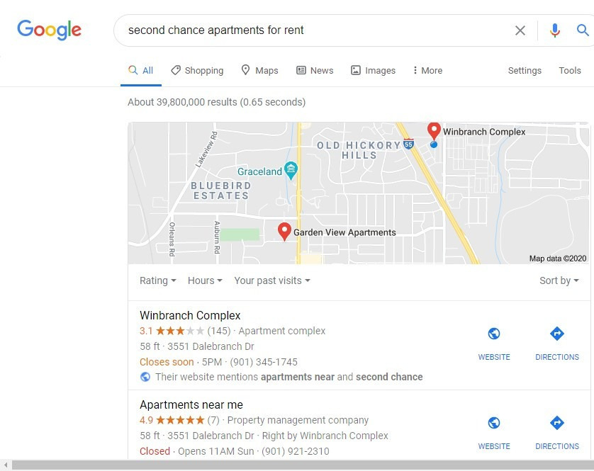 Photo of google search of second chance apartments for rent