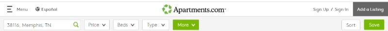 Search Criteria for Apartments.com