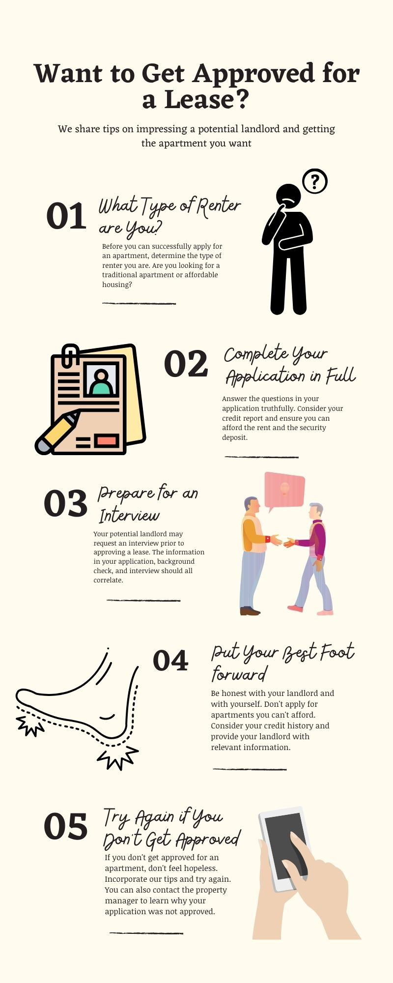 An infographic describing the 5 steps to be approved for a lease.