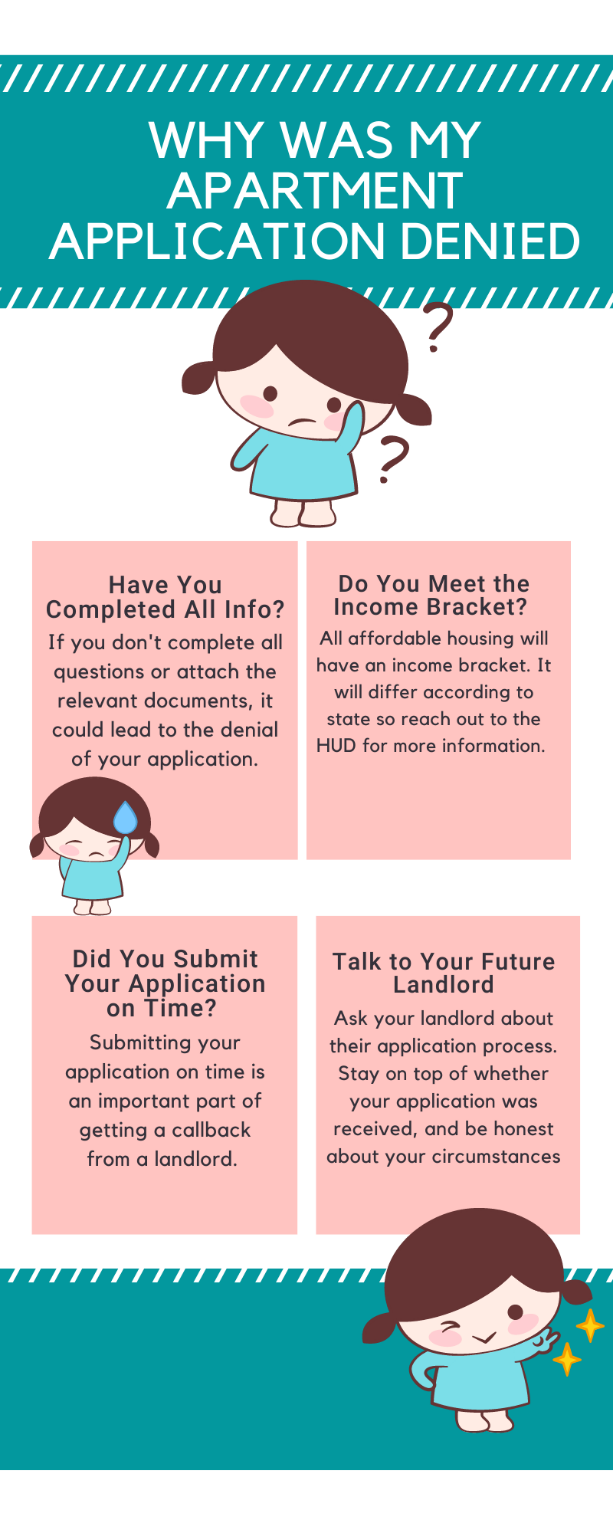Infographic thoroughly explaining the possible reasons the application for application denial.