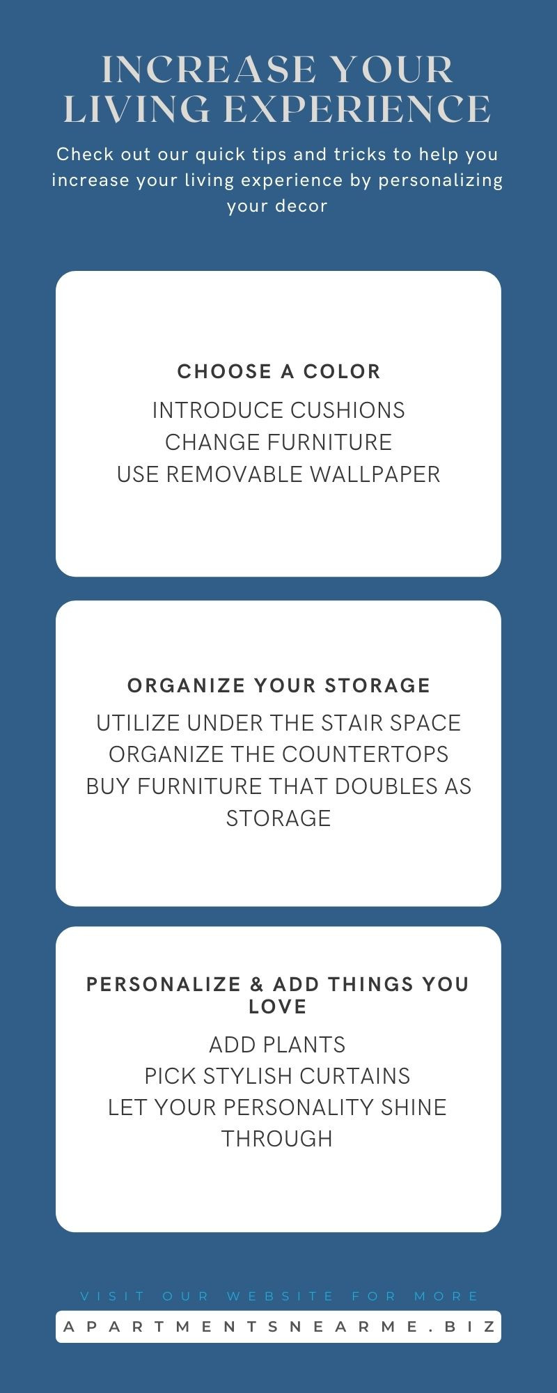 Apartment Design Strategies to Increase Your Living Experience Infographic
