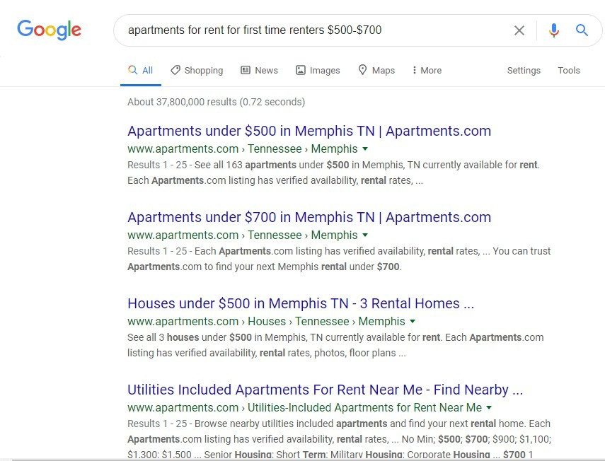A photo of google search for apartments for rent for first time renters
