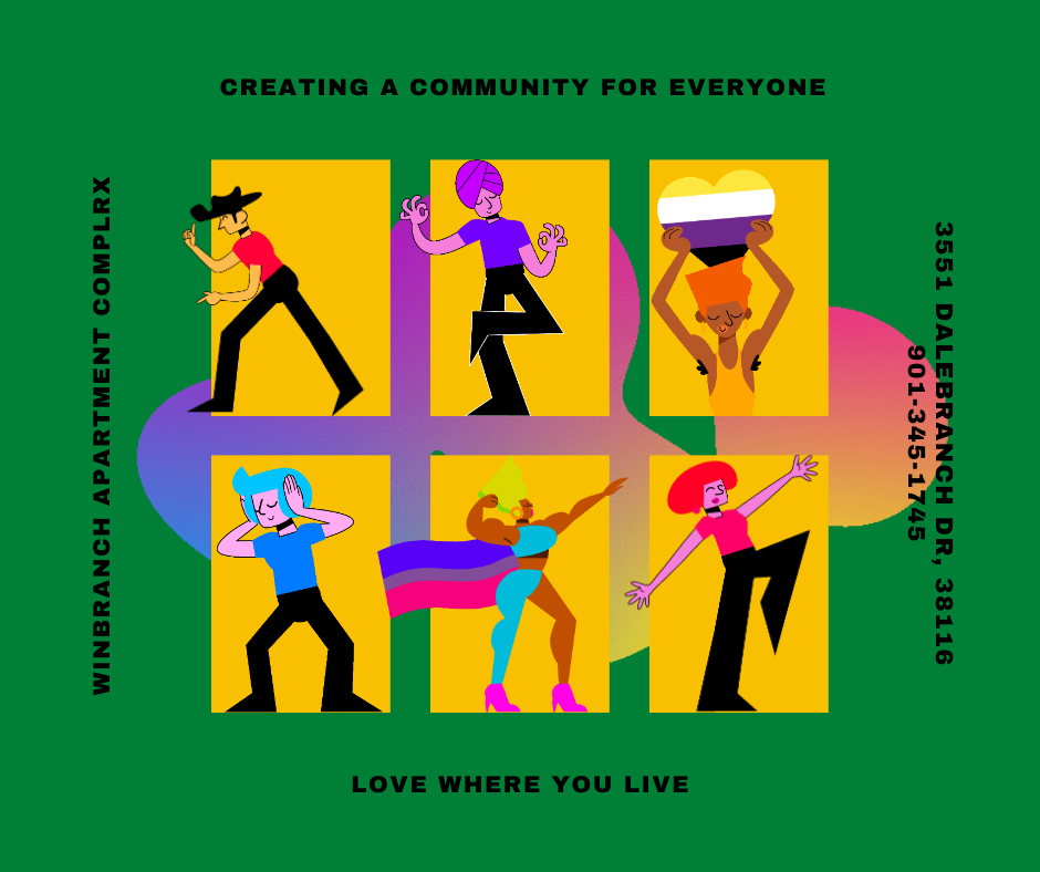 A graphic of six different people in their apartments symbolizing community.