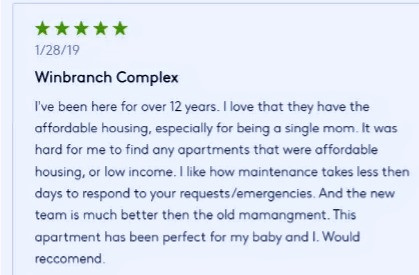 Review on Winbranch from Apartments.com