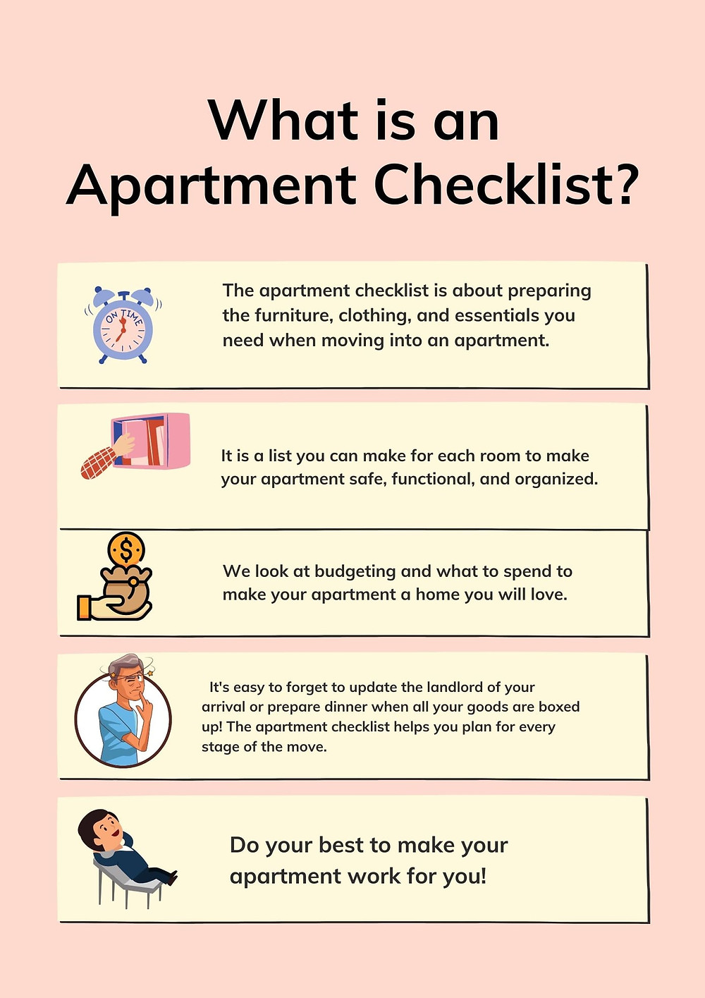 An Infographic of the basic essentials needed on your apartment checklist, from the bedroom, to the kitchen and even the bathroom.