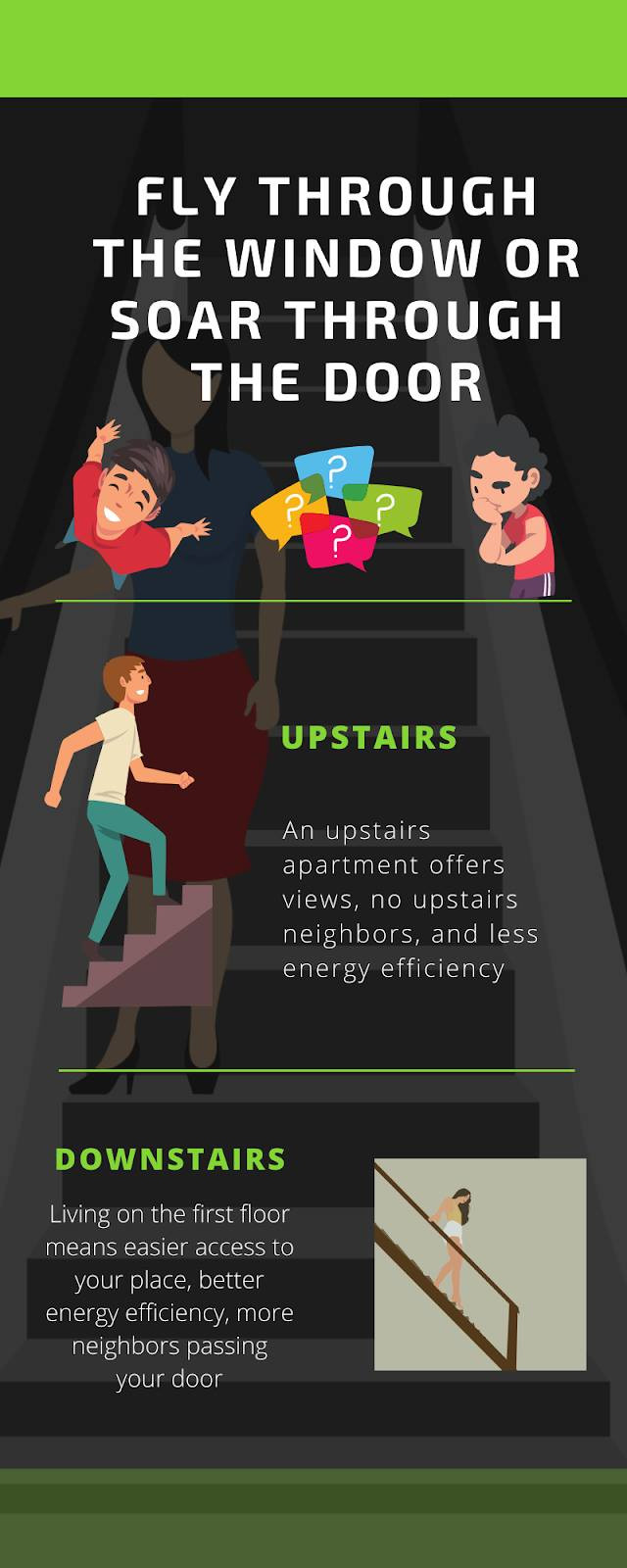 Infographic discussing the pros and cons of an upstairs or downstairs apartment.