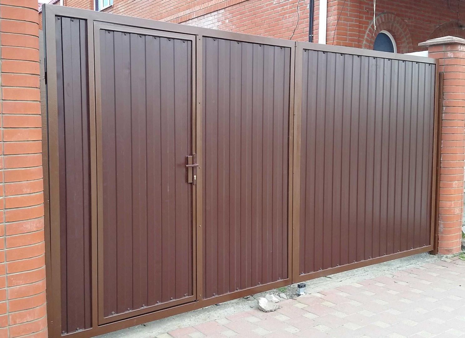 распашные ворота с калиткой от 15000