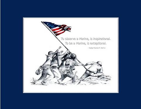 Iwo Jima Illustration Matted