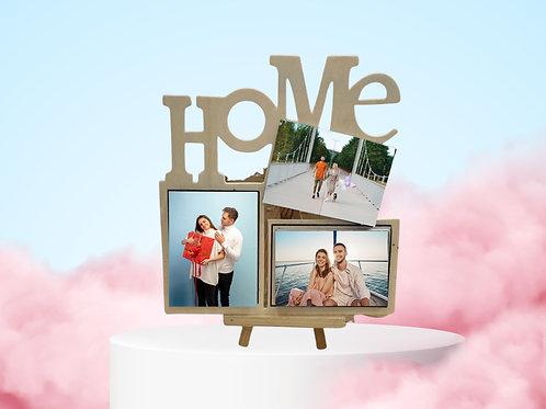 """מעמד 3 תמונות בהדפסה על עץ """"HOME"""""""