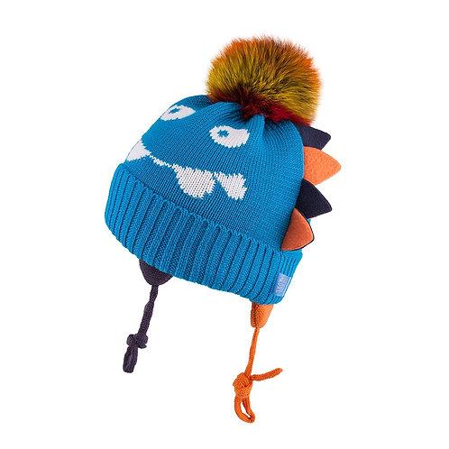 Blue Dragon Hat Natural Pom Pom two Ties