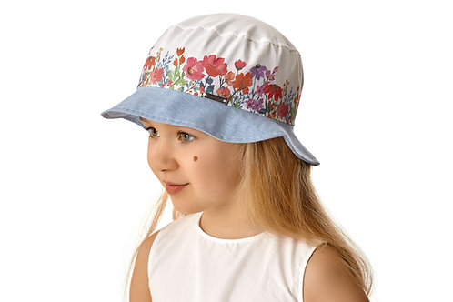 Cotton Summer Hat  with Flowers for girls