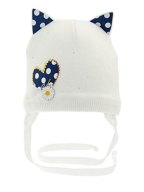 Baby Daisy Hearts Hat w/ties
