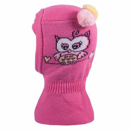 Owl Pink Hat w/2 Pom Poms