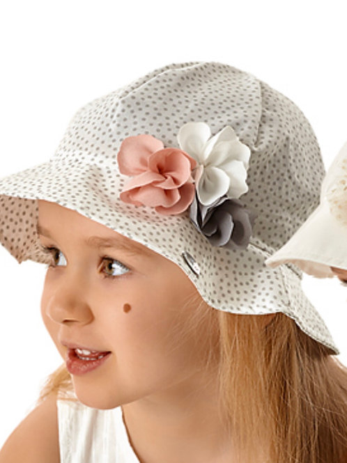 White Summer Polka Dot Hat for Girls
