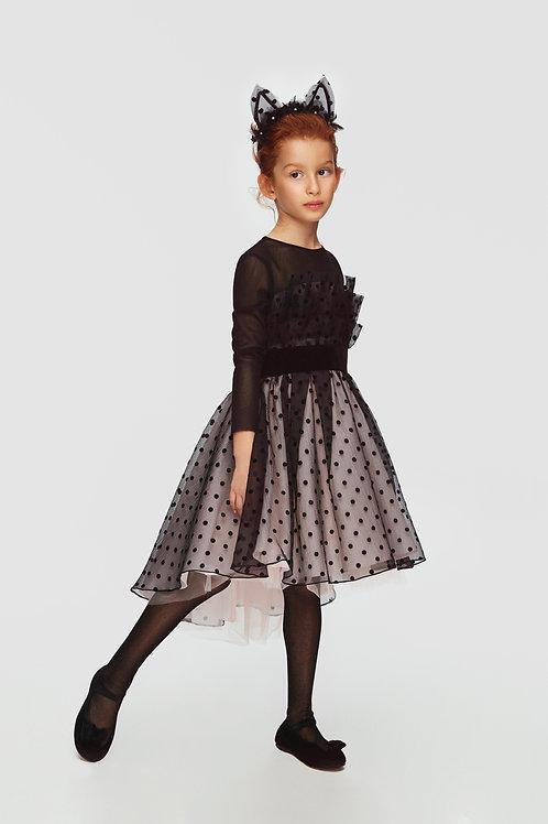 Black/Pale Pink Polka Dot Girls Dress