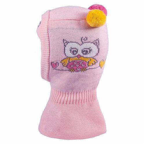 Owl Lt. Pink Hat w/2 Pom Poms