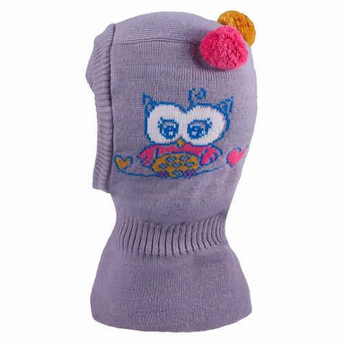 Owl Grey Hat w/2 Pom Poms