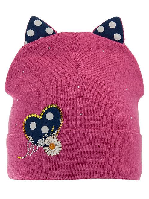 Pink Daisy Hearts Girls Hat