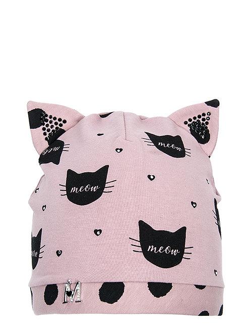 Pink/Black Kitten Girls Hat