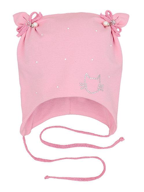 Pink Kitten Pearl Girls Hat