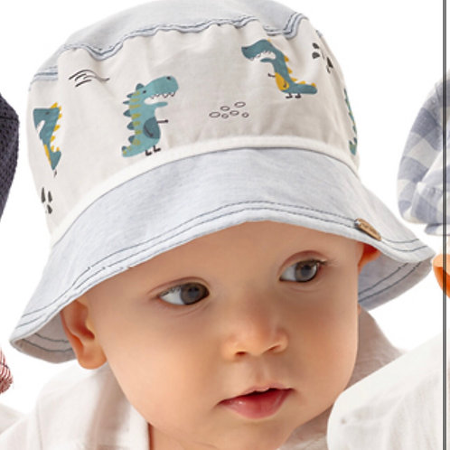 Cotton White Summer Hat for Boys with Dinasour