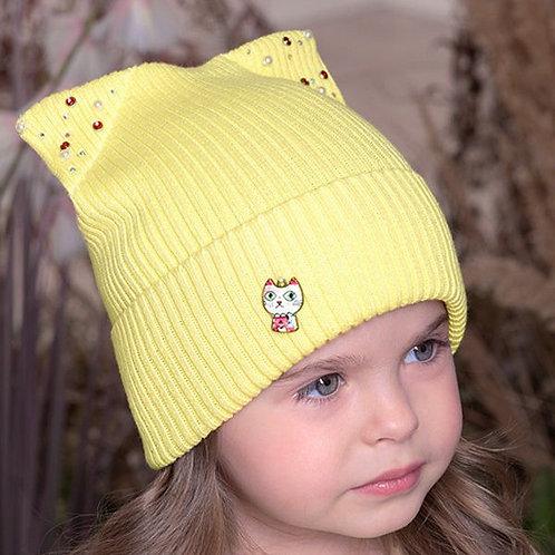 Yellow Kitty Girls Hat