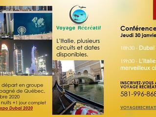 Conférences voyages Italie et Dubai