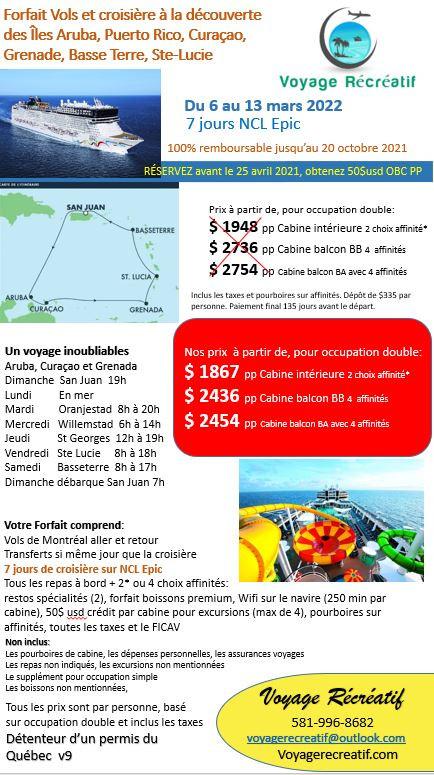 Aruba mars 2022 V9 agence avec vols sans