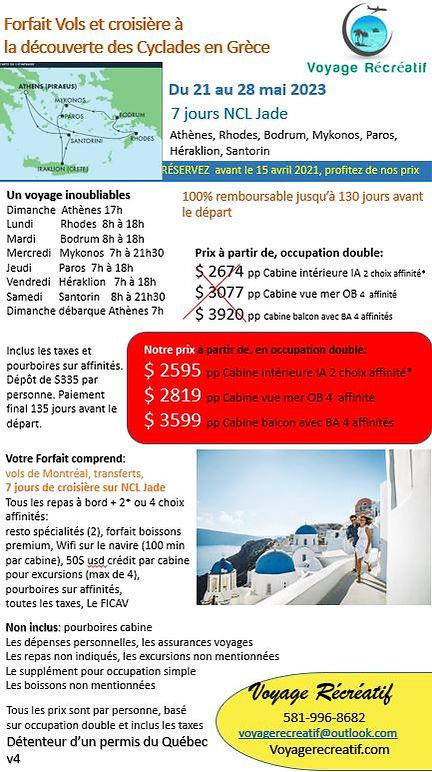 Grèce mai 2023 V4 agence avec les vols s